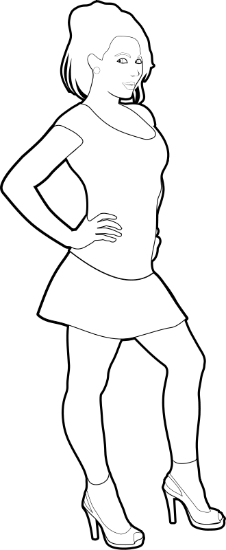 Free Cheerful girl outline