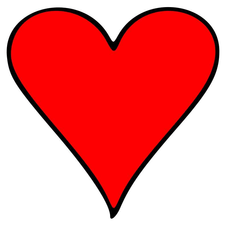 Free Outlined Heart Playing Card Symbol