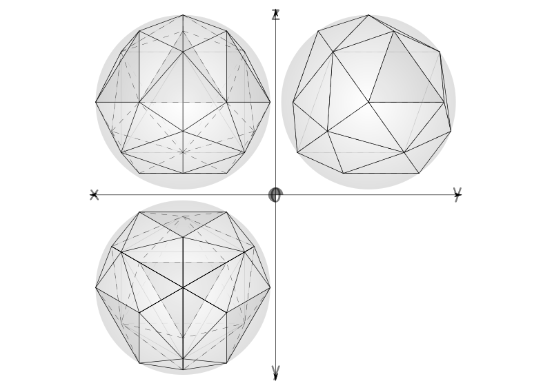 Free 27 construction geodesic spheres recursive from tetrahedron