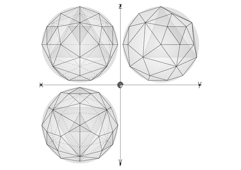 Free geodesic sphere recursive from tetrahedron, multiple layers