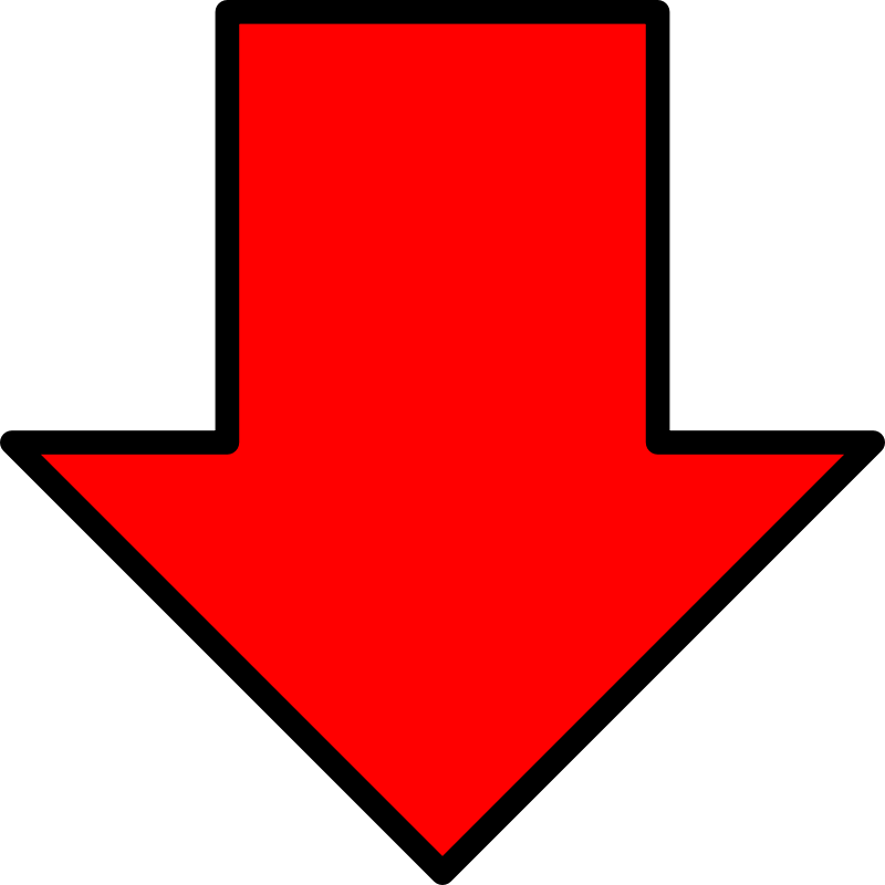 Red arrow down. Free clipart lpenz