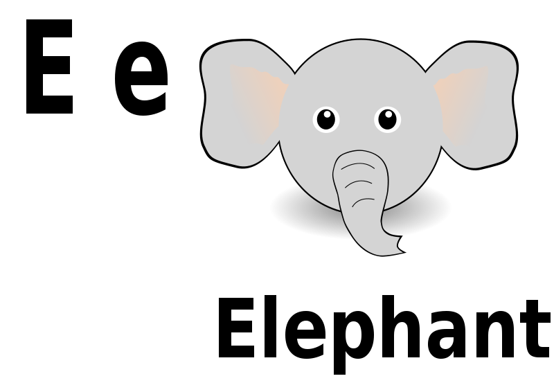Free Clipart: E for Elephant | pranav