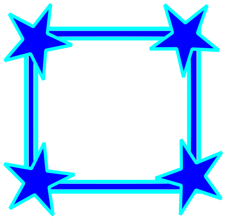 Free Clipart Simple Bright Blue Star Cornered Frame