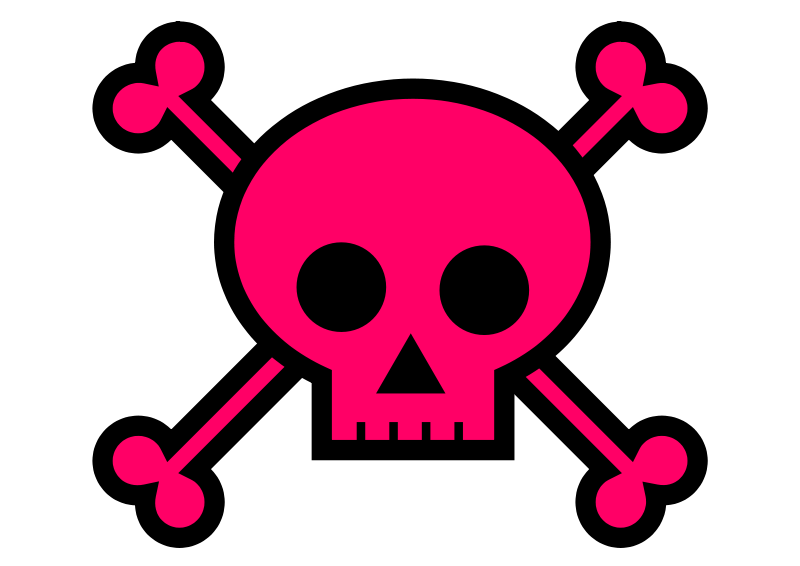 Free Clipart: Skull and Crossbones Large Pink | Lil_Mermaid_Girl