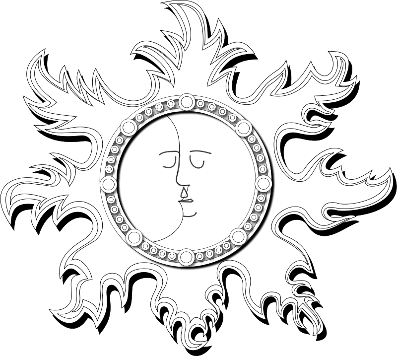 Free Clipart: Sun and Moon Outline | Merlin2525