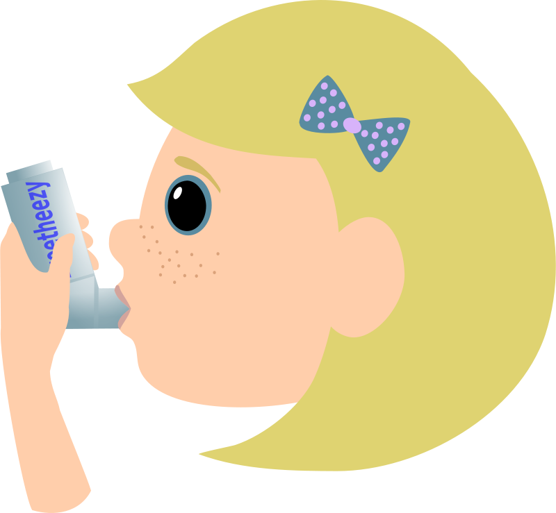 Free Girl with asthma spray