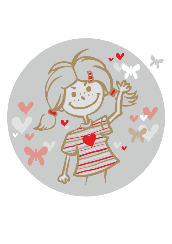 Free girl and flying hearts