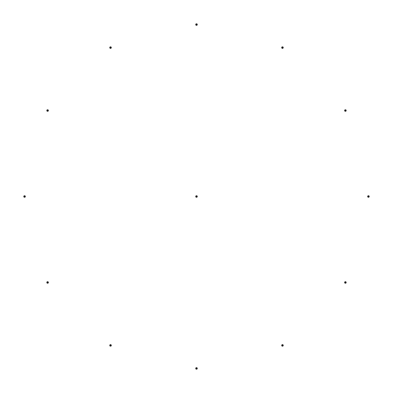 Free 13 dots radius 2