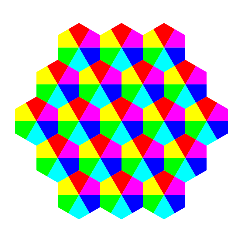 Free kite hexagons 6 color