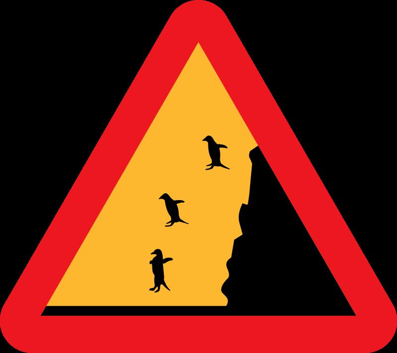 Free Warning falling penguins