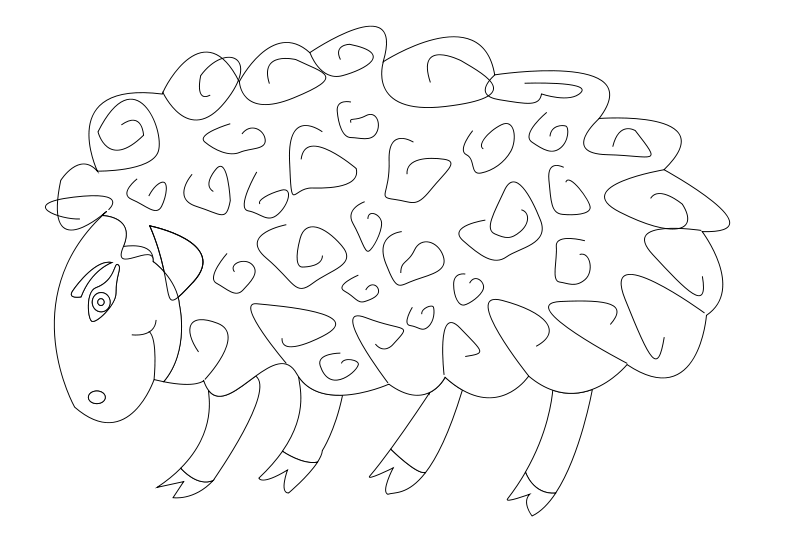 Free sheep vector coloring