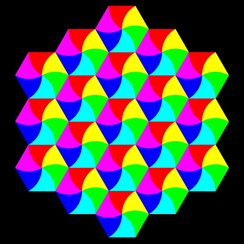 Free swirly hexagon tessellation
