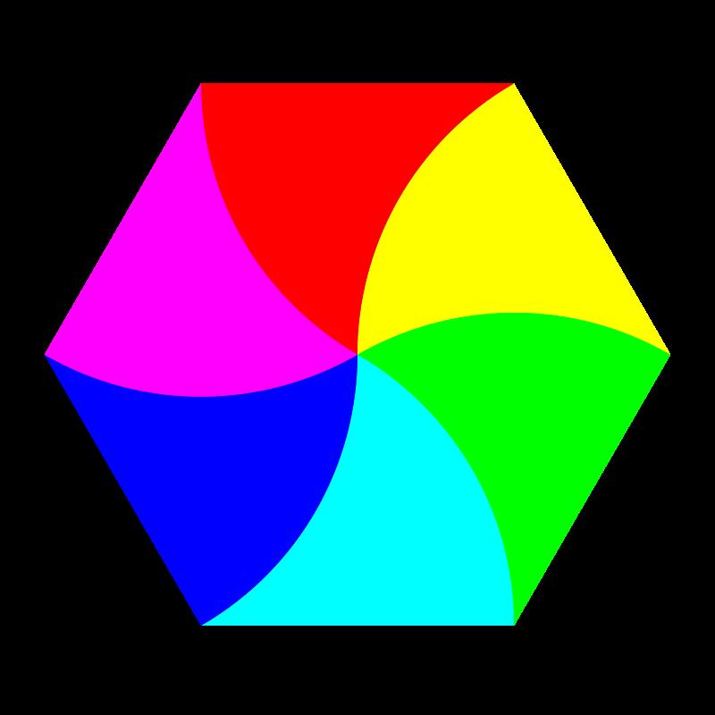 Free swirly hexagon 6 color