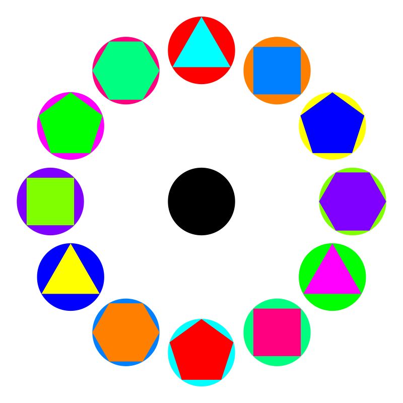 Free 4 polygons in circles rainbow