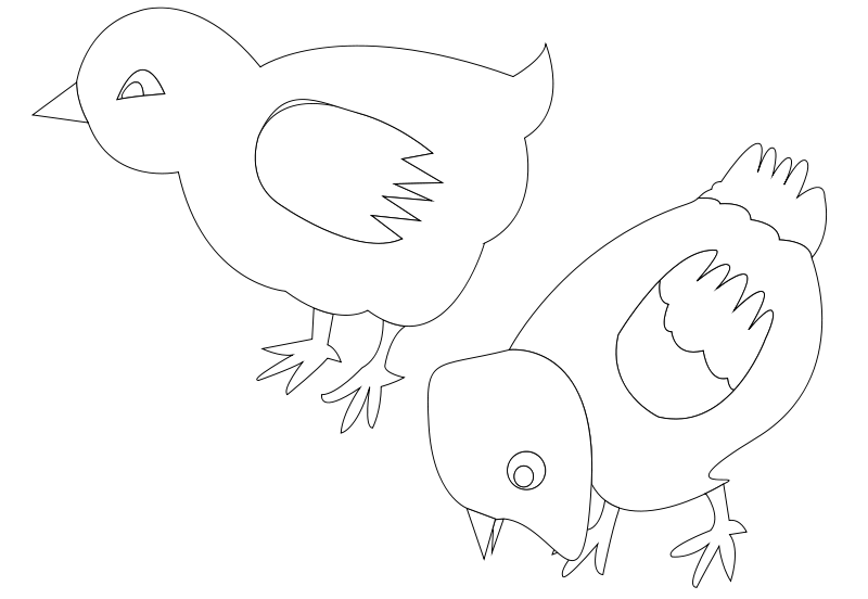 Free chickens-002-vector-coloring