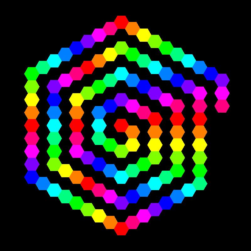 Free 120 hexagon spiral