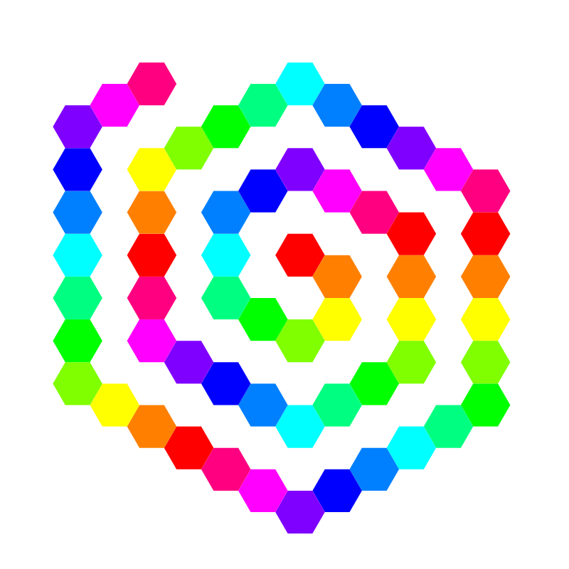 Free 60 hexagon spiral
