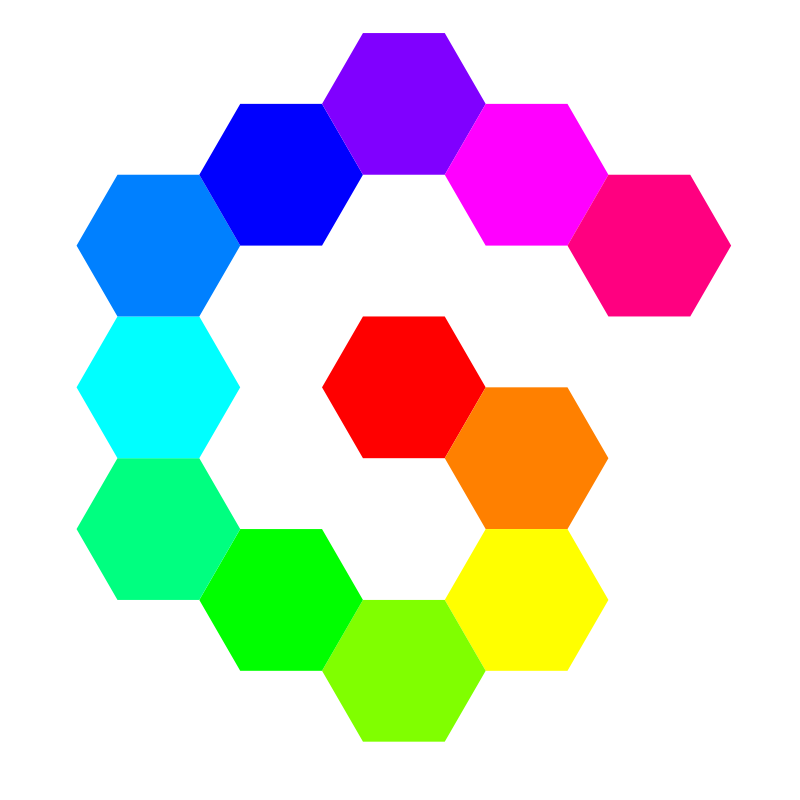 Free 12 hexagon spiral rainbow