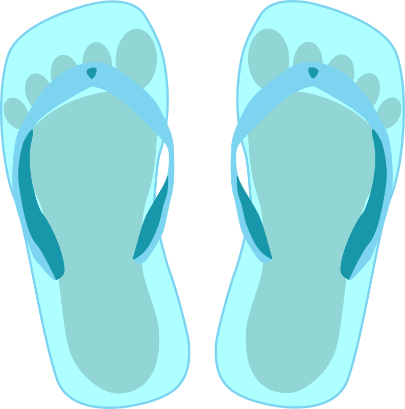 Free Thong light blue with footprint