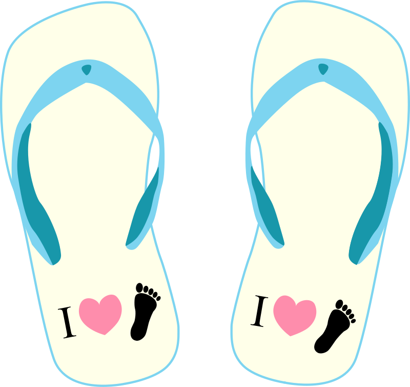 "Free Thong light yellow and blue with ""I Love Foot"" symbol"
