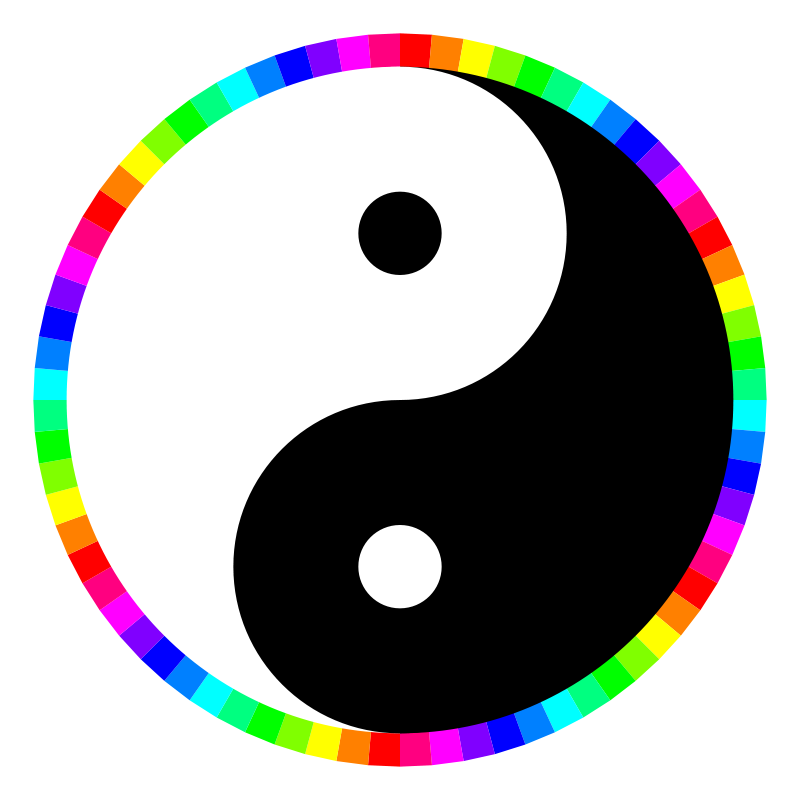 Free rainbow around yinyang
