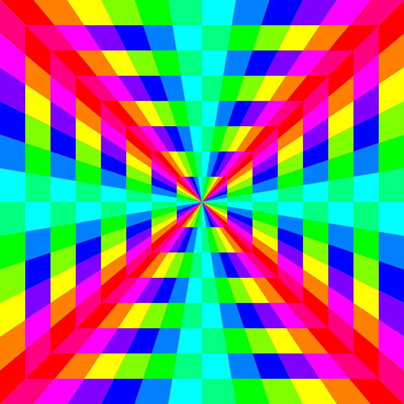 Free 12 color rainbow square tunnel