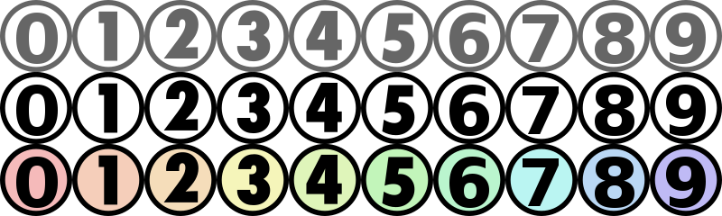 Free Number icons for CSS slicing