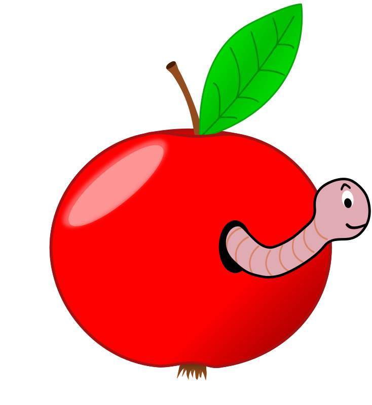 Free Red Apple with a Worm