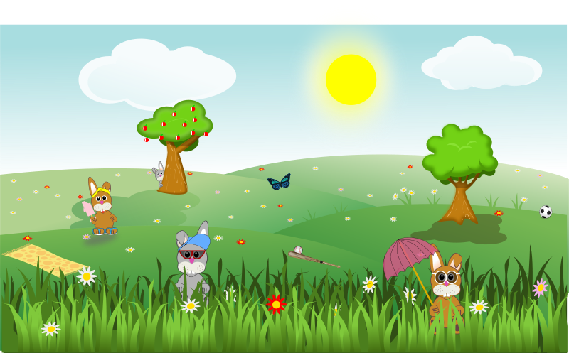 Free Summer green and sunny landscape with bunnies, trees, flowers, butterfly, apples, sports, ...