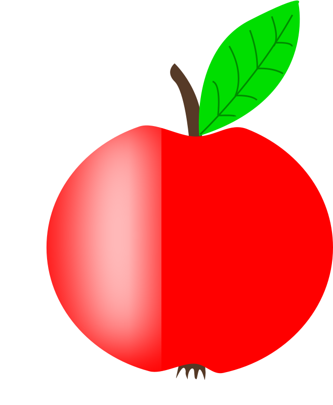 Free Clipart: Apple Red with a Green Leaf | palomaironique