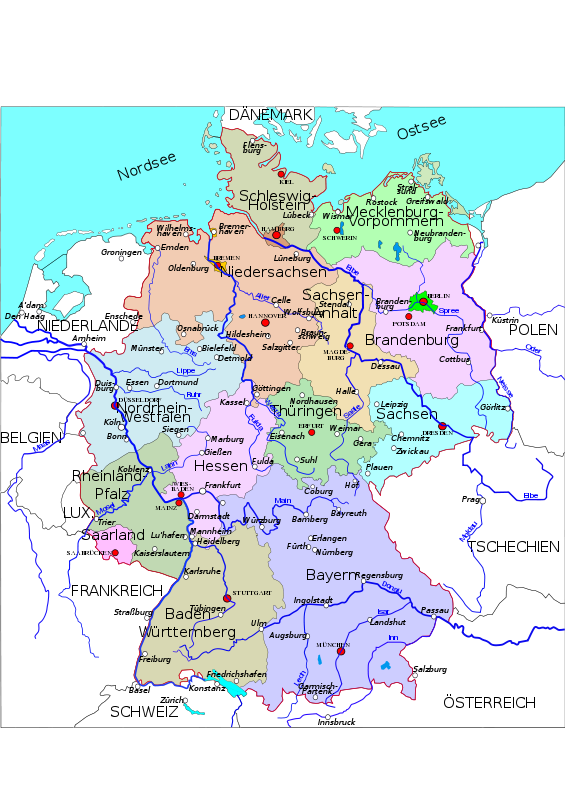 Free Political map of Germany 2