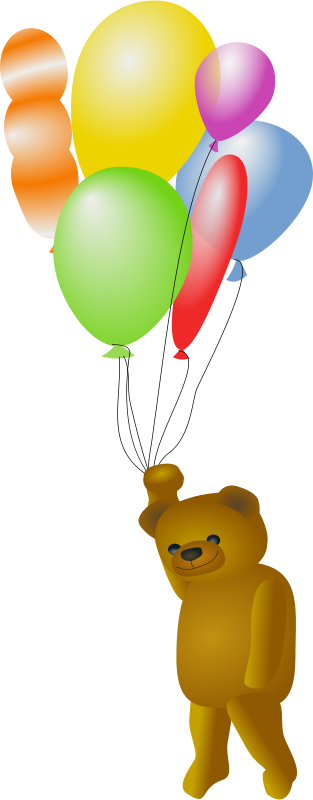 Free Clipart: Teddy Bear with Balloons | OlKu