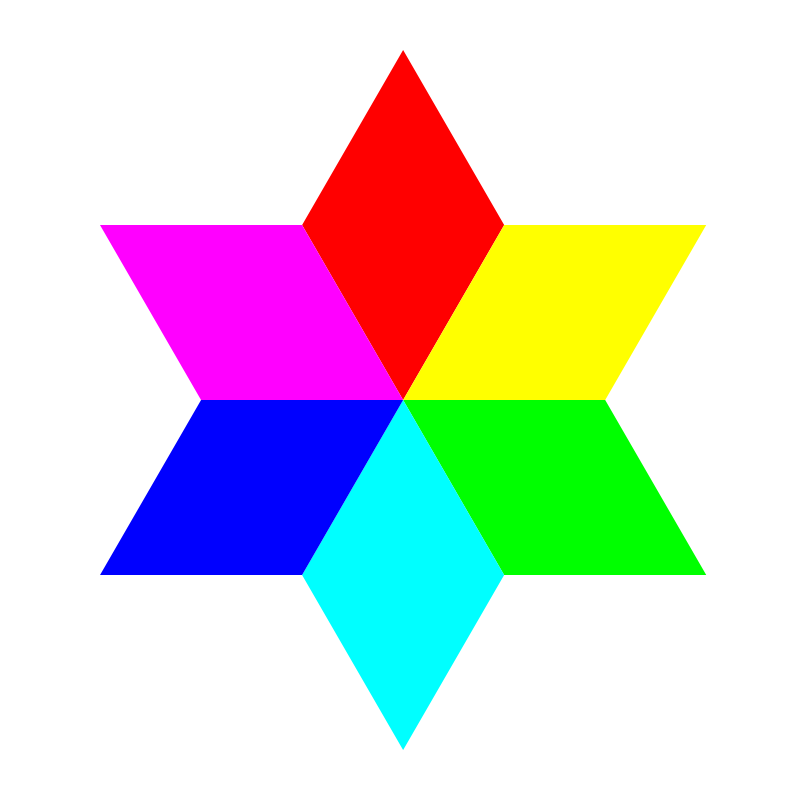 Free 6 color diamond hexagram