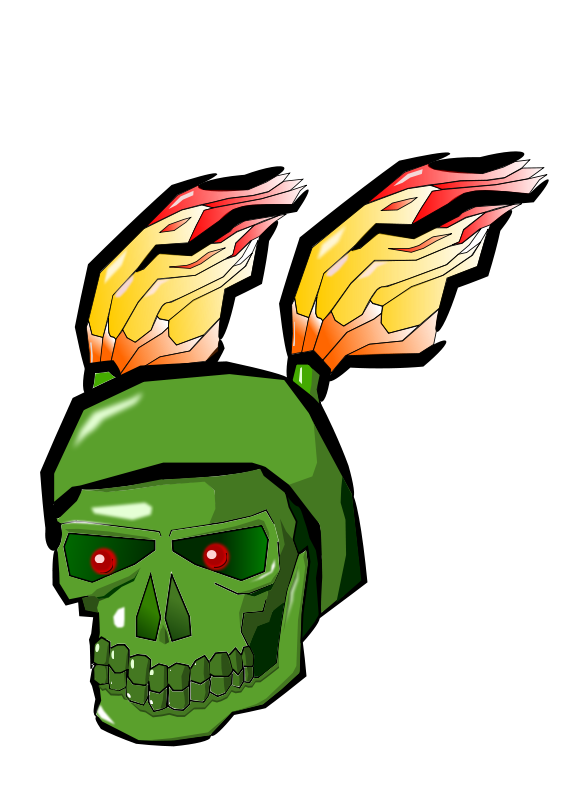 Free Green Skull with Flames