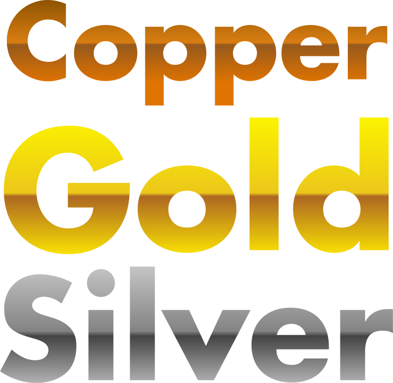 Free Copper, gold, and silver gradients