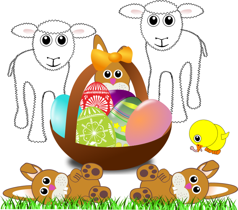 Free Funny lambs, bunnies and chick with Easter eggs in a basket
