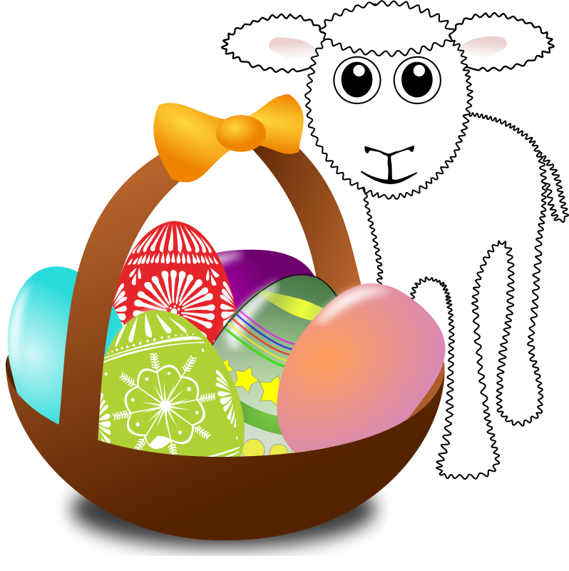 Free Funny lamb with Easter eggs in a basket