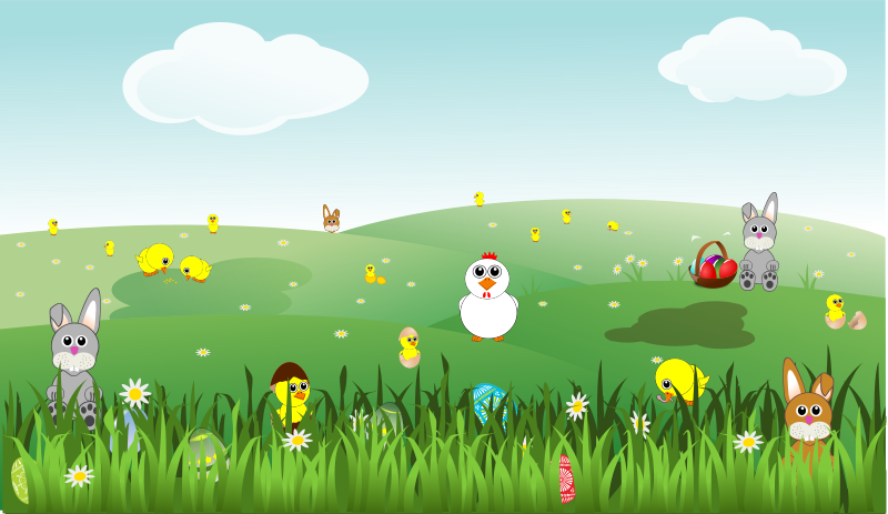 Free Clipart: Easter Landscape with bunnies, chicks, eggs, chicken, flowers | palomaironique