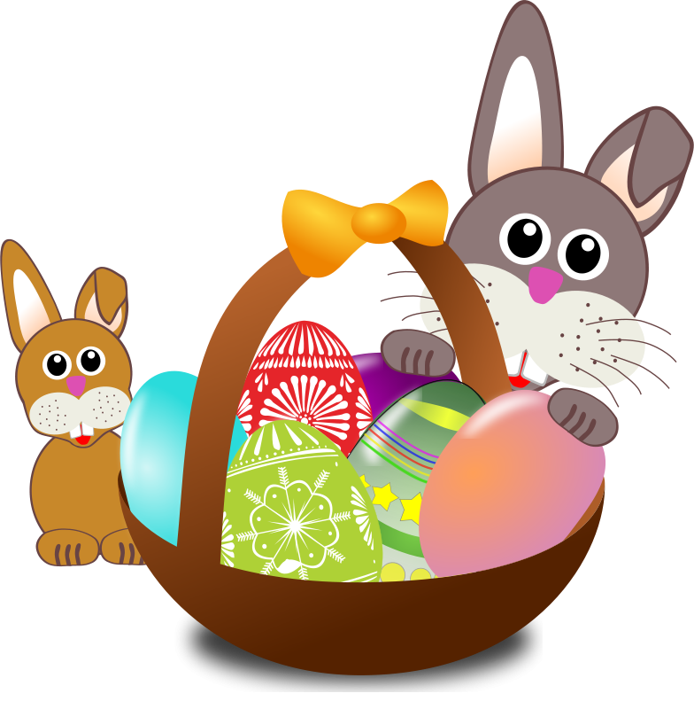 Free Funny bunny face with Easter eggs in a basket with baby rabbit