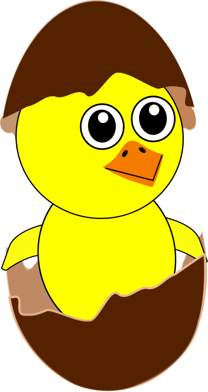 Free Clipart: Funny Chick Cartoon Newborn Coming Out from the Egg with a Chocolate Eggshell hat | palomaironique