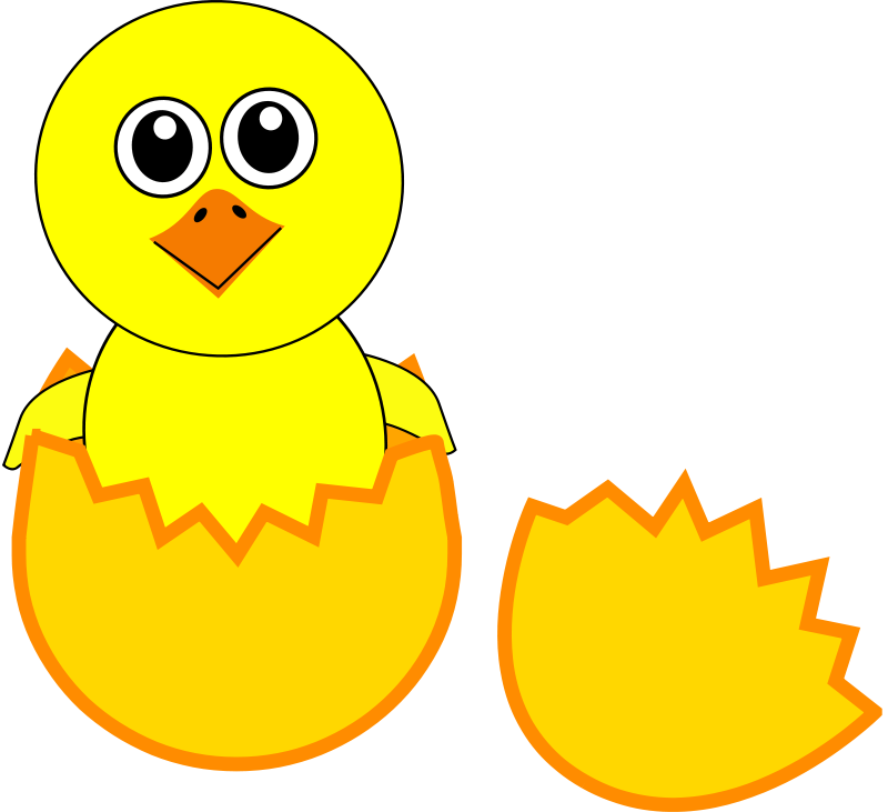 Free Clipart: Funny Chick Cartoon Newborn Coming Out from the Egg | palomaironique