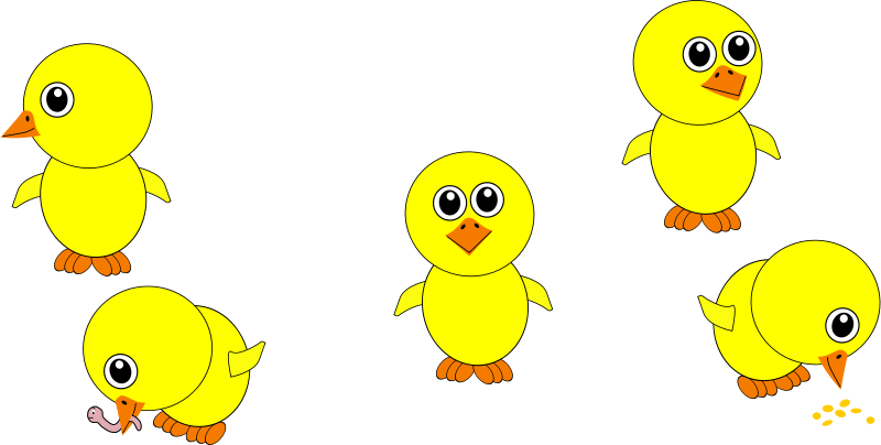 Free Funny Chicks Eating and in multiple positions Cartoon