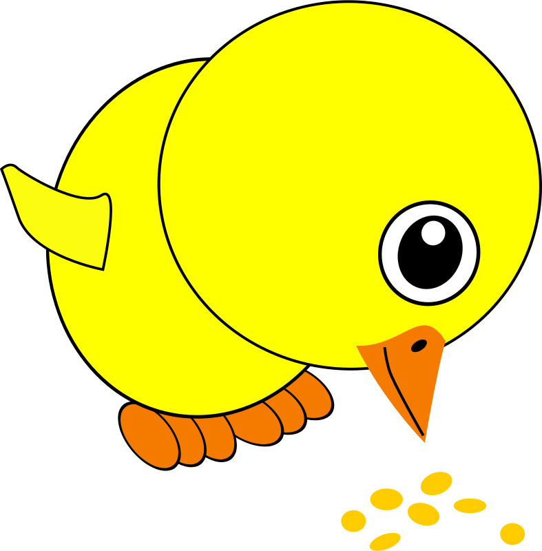 Free Clipart: Funny Chick Eating Bird Seed Cartoon | palomaironique