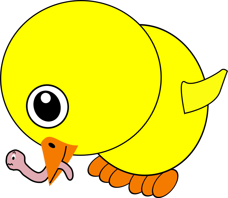 Free Clipart: Funny Chick Eating Earthworm Cartoon | palomaironique