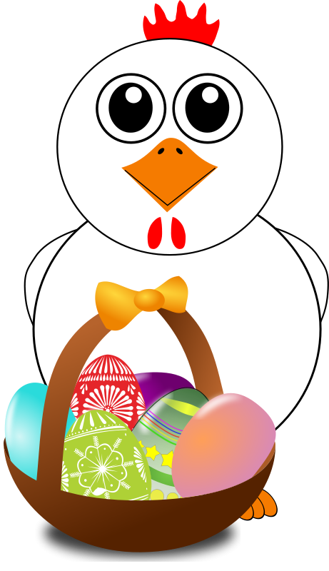 Free Clipart: Funny Chicken with a basket full of Easter Eggs | palomaironique