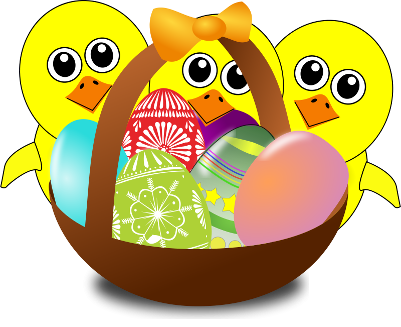 Free Funny Chicks Cartoon with Easter eggs in a basket