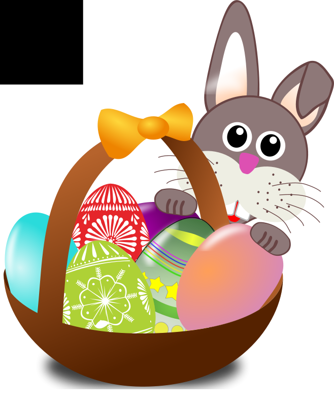 Free Funny bunny face with Easter eggs in a basket