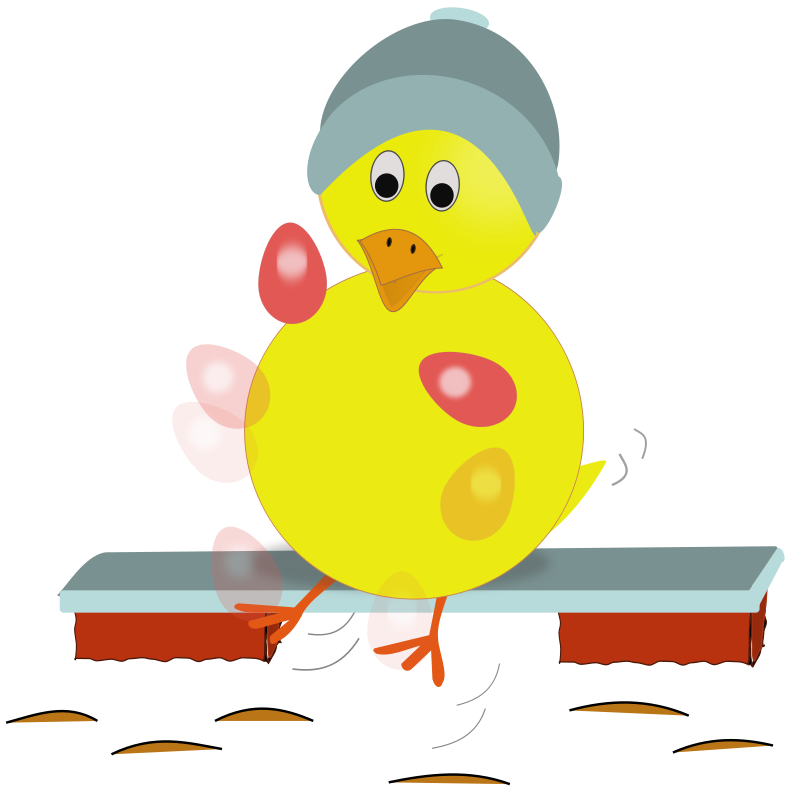 Free Easter Chick Kicking Eggs