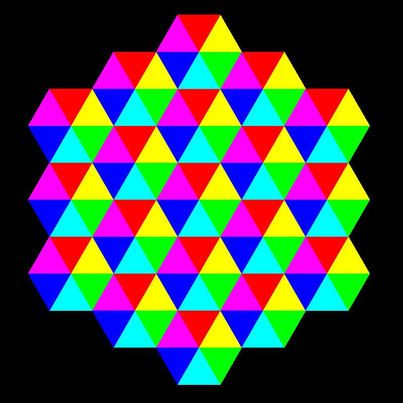 Free triangle tessellation 6 color