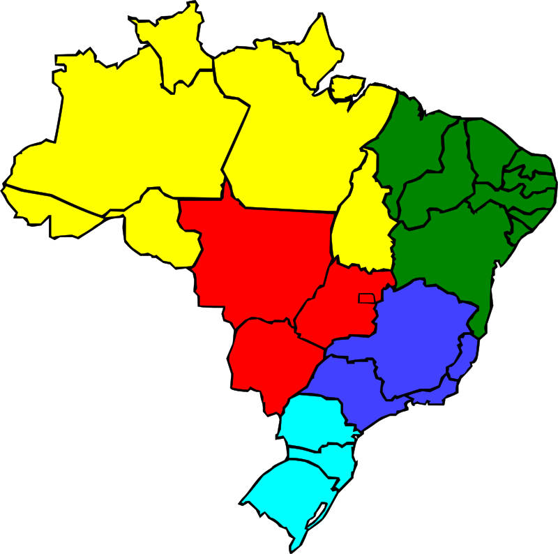 Free Colored map of Brazil